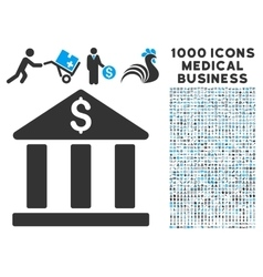 Bank Building Icon with 1000 Medical Business vector image vector image