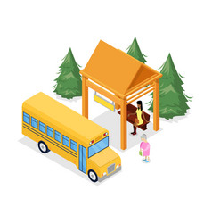 Bus stop isometric 3d icon vector
