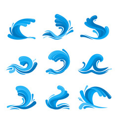 cartoon ocean or sea blue waves icons set vector image