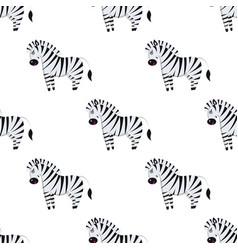 cartoon zebra seamless pattern on white vector image vector image