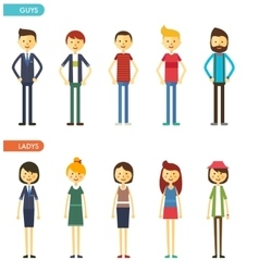 casual set characters for use in design vector image vector image