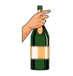 Champagne bottle pop art vector