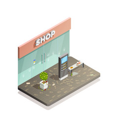 Dirty storefront isometric composition vector
