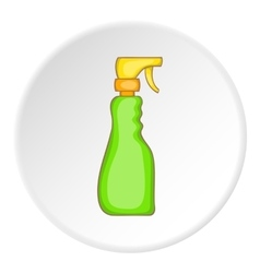 Green household spray bottle icon cartoon style vector