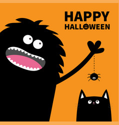 happy halloween pumpkin text black monster vector image