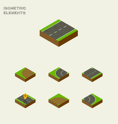 Isometric road set of upwards way asphalt and vector