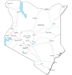 Kenya black white map vector