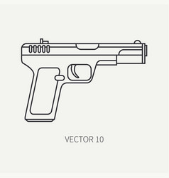 Line flat plain military icon handgun vector
