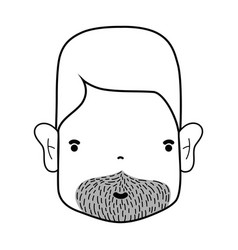Line man face with hairstyle and beard vector