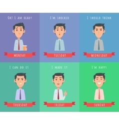 Man Set Avatar Userpics of Emotions vector image vector image