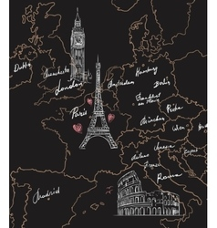 Map with sights of Europe on blackboard vector image