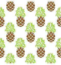 pineapple green and brown seamless pattern vector image vector image