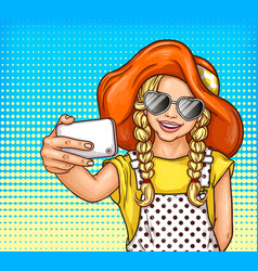 Pop art little girl in sunglasses and vector