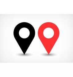 Red map pins sign icon in flat style vector