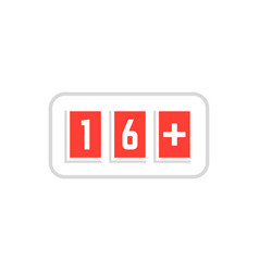red simple 16 plus icon scoreboard vector image vector image