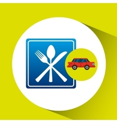 Restaurant road sign sedan red vector