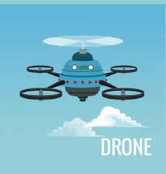 Sky landscape background robot drone with five vector