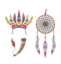wild west american indian feather headdress vector image vector image