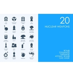 Set of blue hamster library nuclear weapon icons vector