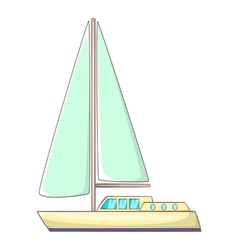 Sailing yacht icon cartoon style vector