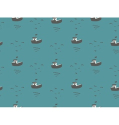 Seagulls and boats sea view seamless pattern vector