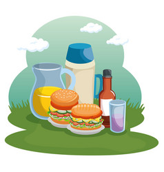 Food and field design vector