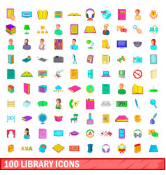 100 library icons set cartoon style vector image