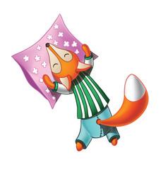 Cute cartoon fox in pajamas sleeps vector