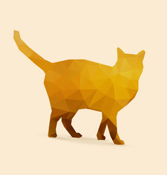 Cat polygon golden silhouette vector