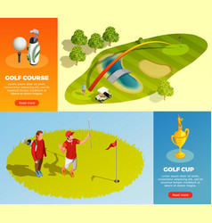 Golf isometric horizontal banners vector