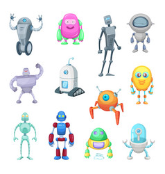 characters of funny robots in cartoon style vector image