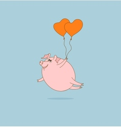 Flying pig with heart-shaped balloons vector