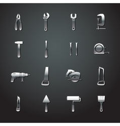 Collection of metal tool stickers vector