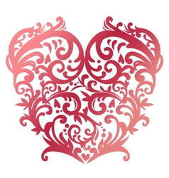 Swirl red heart vector