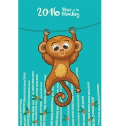 New Year card with Monkey for year 2016 vector image
