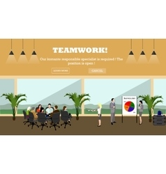 Business meeting concept banner office interior vector