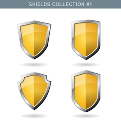 Set of metal orange mediavel shields template vector