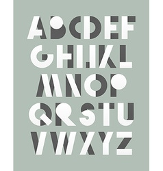 Retro font in white and grey white alphabet vector