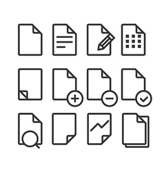 Different documents icons set with rounded corners vector