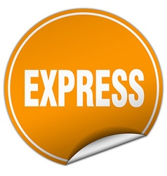 Express round orange sticker isolated on white vector