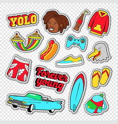 Beach vacation stickers with surf board vector