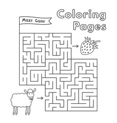 Cartoon sheep maze game vector