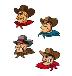 Cartoon western brutal cowboys mascots vector image