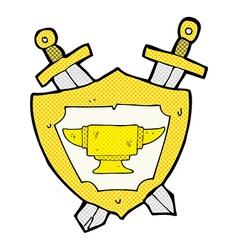 Comic cartoon blacksmith anvil heraldry symbol vector
