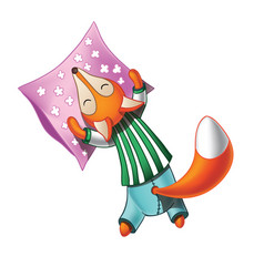 Cute cartoon fox in pajamas sleeps vector