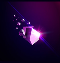 Falling beauty stone space debris violet vector