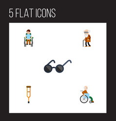 flat icon handicapped set of stand disabled vector image vector image