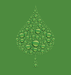 green water drops creating leaf shape vector image vector image