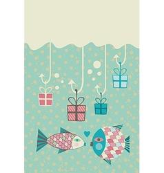 Happy fish card vector