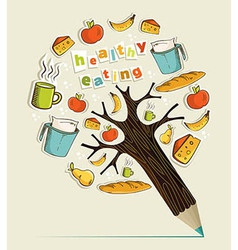 Healthy food concept pencil tree vector image vector image